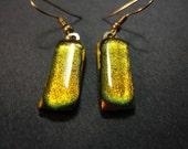 Perfect Orange Dichroic Glass Dangle Earring