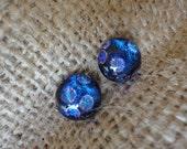 Royal Blue Polka Dot Dichroic Glass Earrings