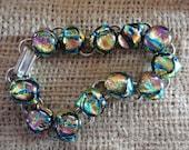 Rainbow Pink Dichroic Glass Bracelet