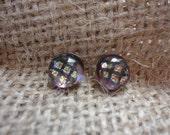 Purple Dot Button Post Dichroic Glass Earrings
