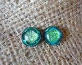 Green Glitter Dichroic Glass Button Earrings