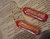 Red Glitter Dichroic Glass Dangle Earrings