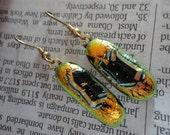 Festive Orange Dangle Dichroic Glass Earrings