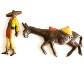 SALE - 50% OFF - Sombrero Man and His Mule - 1960s Mexican Theme Ceramic Wall Hanging