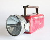 SALE - 50% OFF - Red Metal Flashlight - Great Rustic Industrial Wear