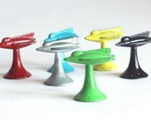 "Full Set of Six (6) Rocketship Game Pieces - 1957 Parker Brothers ""Wide World"" Board Game"