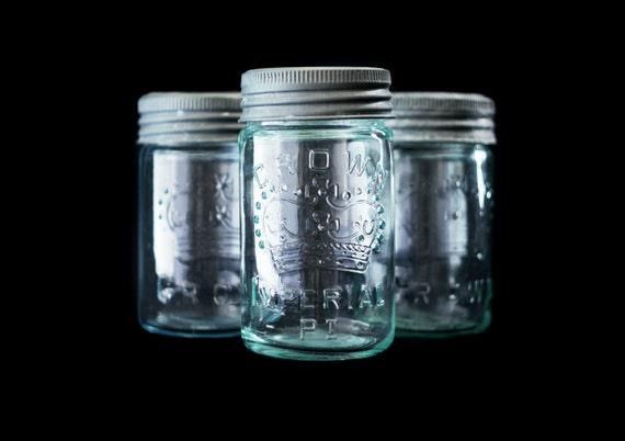 Three Vintage Crown Mason Jars - Green and Blue Glass