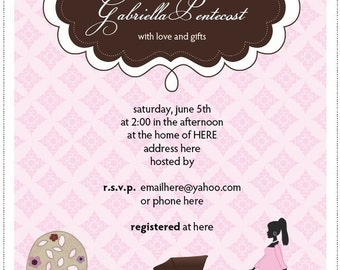Chic Pink Baby Shower - Print It Yourself - Invitation/Envelope