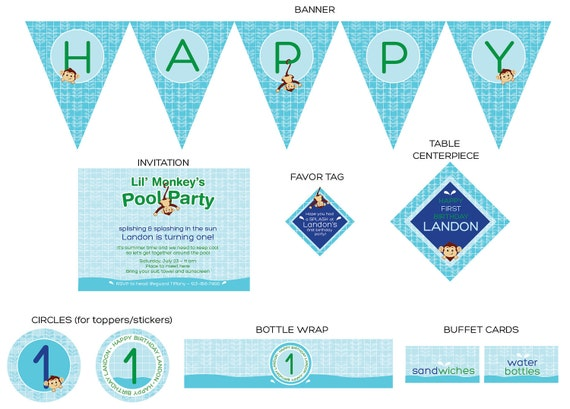 Pool Party (monkey) - Complete Print It Yourself Package