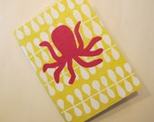 Octopus Handmade Notebook Journal: Pink and Yellow Book Coptic Bound