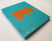 Rhino Handmade Journal Notebook:  Turquoise and Orange Rhinoceros Small Hardbound Coptic Book
