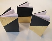 Gold Metal Leaf Pocket Notebooks: Set of Three Black and Gold Metallic Small Journals Cahier