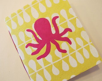 Octopus Handmade Notebook Journal: Yellow and Pink Small Pamphlet Book