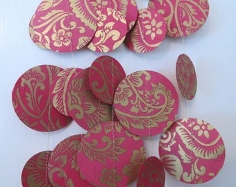 Pink and Gold Paper Garland: Wedding or Christmas Garland