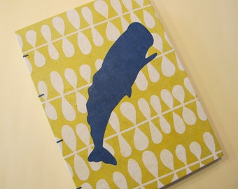Whale Journal Notebook: Yellow and Blue Coptic Handmade Book Hardbound