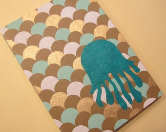 Jellyfish Coptic Notebook Journal: Turquoise and Gold Handmade Book