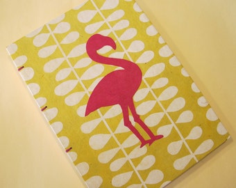 Flamingo Journal Notebook Coptic Bound: Yellow and Pink Handmade Book Hardbound