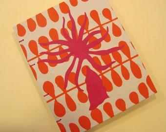 Sea Anemone Handmade Journal Notebook: Pink and Orange Coptic Small Book Hardboound