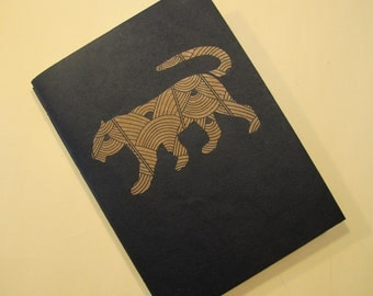 Tiger Handmade Journal Notebook: Art Deco Coptic Bound Book
