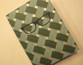 Glasses Handmade Journal Notebook: Green and Gold Coptic Bound Book