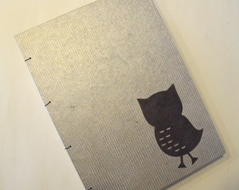 Owl Handmade Journal Notebook: Gold and Brown Coptic Hardbound Book