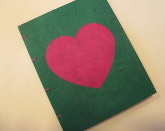 Valentine's Heart Small Journal Notebook:  Green and Pink Hardbound Coptic Handmade Book