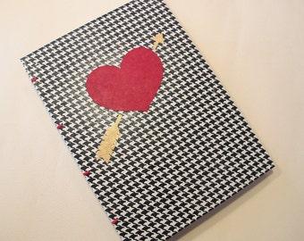 Valentine's Heart Handmade Journal Notebook: Red and Houndstooth Coptic Book Hardbound
