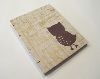 Owl Handmade Notebook Journal: Brown and Gold Hardbound Coptic Small Book