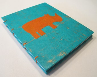Rhino Handmade Journal Notebook:  Turquoise and Orange Rhinoceros Small Hardbound Coptic Book
