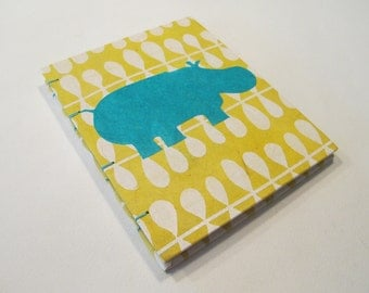 Hippo Small Journal Notebook Coptic Bound: Yellow and Turquoise Handmade Book Hardbound