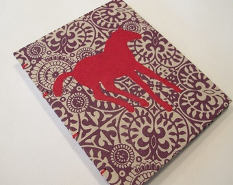 Pony Handmade Notebook Journal: Red and Purple Horse Hardbound Coptic Small Book
