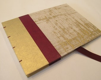 Large Gold, Burgundy, and Cream Modern Wedding Guest Book Instax Polaroid Photo Album