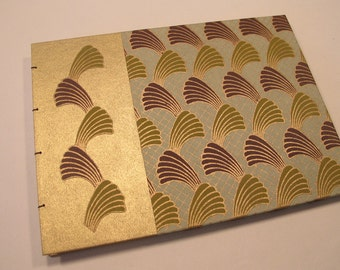Art Deco Wedding Guest Book: Metallic Gold, Green, and Brown Coptic Bound Guestbook