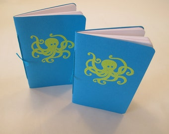 Octopus Pocket Notebooks: Set of Two Turquoise and Green Embossed Small Journals Cahier