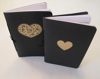 Valentine's Day of the Dead Heart Pocket Notebooks: Set of Two Black and Gold Embossed Small Journals Cahier