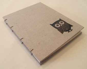 Owl Small Journal Notebook: Hardbound Handmade Coptic Book