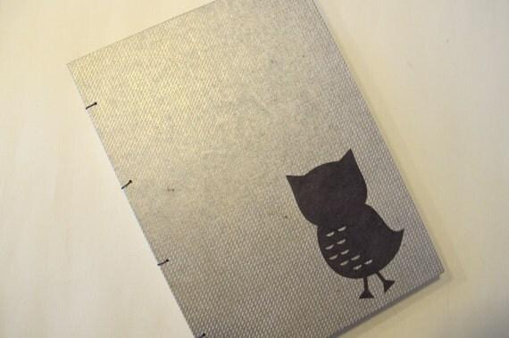 Owl Handmade Journal Notebook: Gold and Brown Coptic Hardbound Book