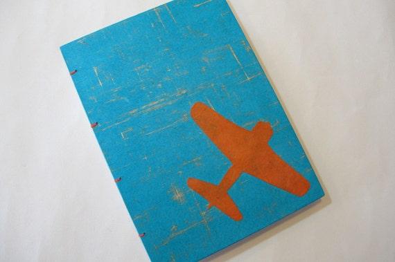 Airplane Handmade Journal Notebook: Turquoise and Orange Airplane Hardbound Book