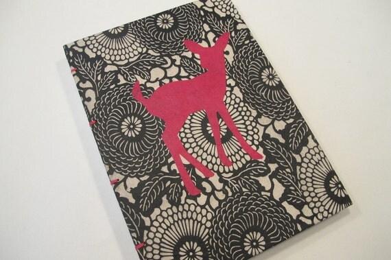 Deer Journal Notebook Coptic Bound: Pink and Black Handmade Book Hardbound