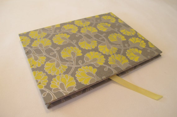 Large Yellow and Silver Grey Guest Book Journal Coptic Hardbound