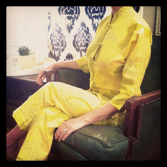 SALE- Vintage Andrade Yellow Pants Suit
