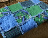 Father's Day Golf-Themed Green, Blue, and Plaid Flannel Rag Quilt