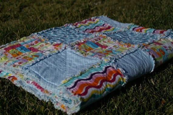 Aqua Blue with Bright Cheerful Colors Flannel Rag Quilt