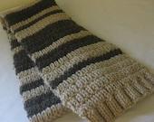 Knitting PATTERN easy/beginner unisex scarf with stripes PDF