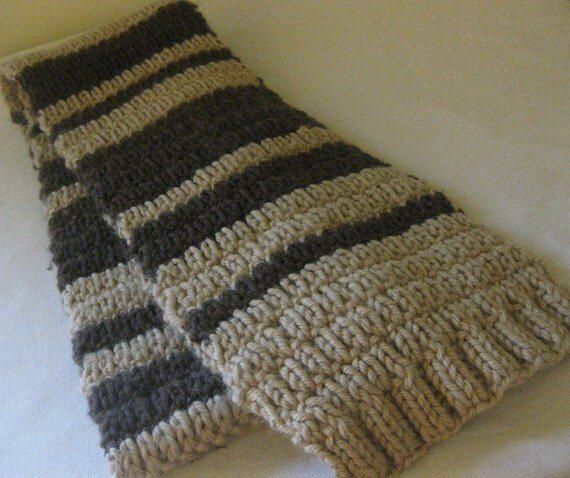 Knitting For Beginners Scarf : Knitting pattern easy beginner unisex scarf with stripes pdf