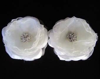 Bridal Pair Silk Flower Fascinator Hair Clip With Clear Rhinestone - Felicia