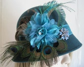 Wool Cloche, Hat, Cloche, Turquoise Hat, Blue Hat, Blue Cloche, Peacock Feather Hat, Cloche Hat, Wool Hat