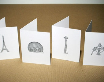 World's Fair Structures Letterpress Cards - Set of 4 - Eiffel Tower, Space Needle, Atomium, Biosphere