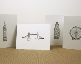 London Sketches Letterpress Cards - Set of 4 - Big Ben, Tower Bridge, London Eye, Gherkin