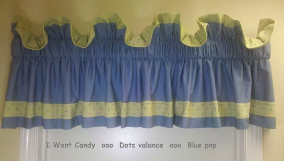 Ruffled valance -Dots valance - blue pop